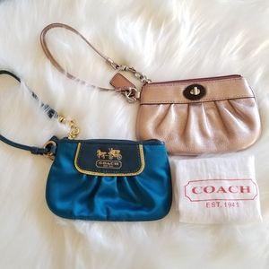 COACH BOGO Rose Gold & Satin Blue Leather Wristlet